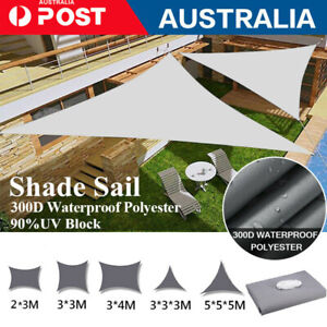 Waterproof Sun Shade Sail Cloth Outdoor Garden Patio Awning Canopy Cover 3M 5M