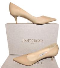 Jimmy Choo AZA Nude Patent Leather Pump Pointy Toe Low Kitten Heel SHoe 37