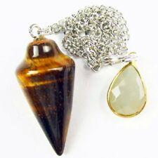 Yellow Tiger Eye Gem Pendulum Wrapped Titanium Crystal Pendant Bead A84128
