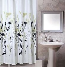 Multi-Color Floral Flower Black Picture Bathroom Fabric Shower Curtain ss159