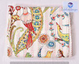 Indian Handmade Queen Cotton Kantha Quilt Bird Print Blanket Bedspread Throw
