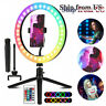 """For Phone Stream 10"""" RGB Beauty Fill Light LED Ring w/Tripod Stand Dimmable Kit"""
