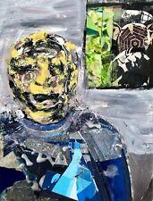 Robbie Rinder Portrait - Mixed Media Collage Painting - Steven Tannenbaum