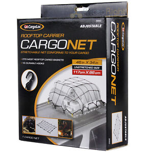 "CargoLoc Roof Top Cargo Net Carrier 46"" x 34"" Basket Adjustable 16 Hooks 84063"