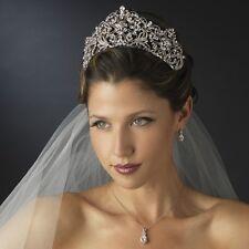 Silver Rhodium Antique Rhinestone Royal Princess Wedding Bridal Pageant Tiara