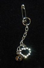 CRYSTAL LOVE HEART & SILVER BELL Cell Phone CHARM GARMENT CHARM or BRACELETS