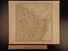 1844 Beautiful Huge Color Map of North East France Paris Rhine River Atlas