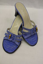 "FRANCO SARTO Blue ""Crocodile Print"" Leather Open Toe Mules/Slides, Womens 5.5M"