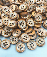 100  Brown 4-holes printing Round Buttons sewing Crafts Wooden scrapbooking 12mm