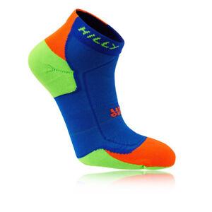 HILLY LITE-CUSHION UNISEX QUARTER RUNNING SOCKS COBALT/FLUO GREEN/FLUO ORANGE