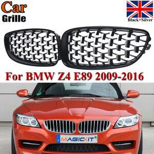 Pair Front Diamond Style Kidney Grilles Grills Chrome Black For BMW Z4 E89 09-16