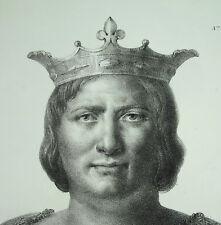 Antique print Louis VI le Gros le batailleur roi des Francs capétiens c1850