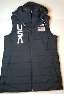 Northface Winter Ski Vest w/ USA Flag - Women's Large w/ detachable Hood Black