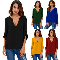 Womens Chiffon Casual Long Sleeve V-neck OL Tops Office Shirts Blouse Plus Size