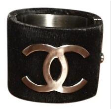 Chanel Black Velvet CC Logo Cuff Bracelet