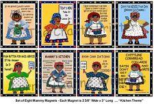 "Set Of Eight Black Americana Mammy Magnets - ""Kitchen Theme"" - Shipping Free!"
