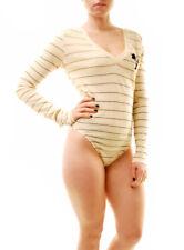Wildfox Women's New Kelly Palm Bodysuit Striped Vanilla Latte S RRP £79 BCF71