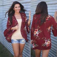 Women Long Cardigan Loose Sleeve Knitted Outwear Jacket Coat Outwear