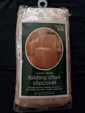 Classic Tidings Folding Chair Slipcover for Armless Chair up to 30in Ivory