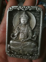 CHINEA fengshui old Carved Tibet silver Amulet Pendant Guanyin