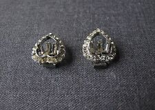 VINTAGE CLEAR RHINESTONES SILVERED METAL HEART SHAPED SHOE CLIPS
