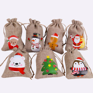 Christmas Jute Bags Burlap Gifts Bag With Drawstring For Xmas Party Candy Pouch