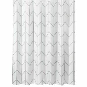 "mDesign Chevron Print - Easy Care Fabric Shower Curtain - 72"" x 72"" - Gray/White"