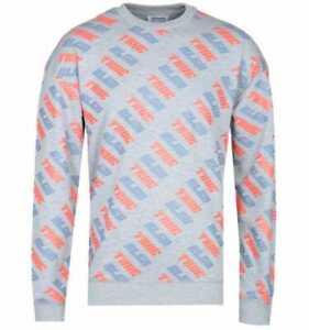 New Men's True Religion All Over Print Grey Marl Crew Neck Sweatshirt