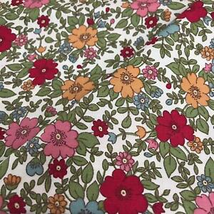 Rose & Hubble 100% Cotton Fabric - Red, Pink & Sage Pansy print CP0223 uk