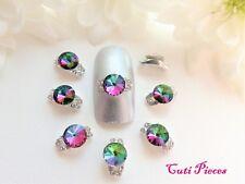 3D Nail Art Black Pink Iridescent Rhinestone Gem Curved Half Rings Alloy Metal