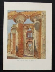 Antique Print: Great Hall at Karnac, Thebes, New Popular Educator, 1899
