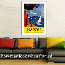 """Vintage art poster Italy Italian Napoli Boat sailing painting 4 glass frame 36"""""""