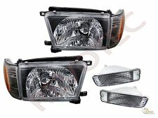 96 97 98 Toyota 4Runner Black Headlights Corner + Bumper Signal Lights Set