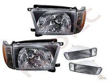 96 97 98 Toyota 4Runner Black Headlights Corner + Bumper Signal Lights Set