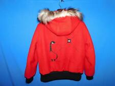 Vintage Northern Sun M Red Wool Coat Fur Trim Inuit Eskimo Loon Parka Gemini