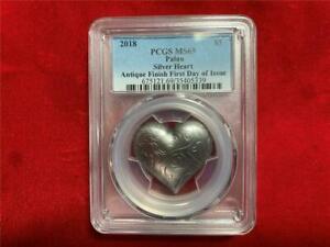 2018 $5 Palau Silver Heart SHape PCGS MS 69 Antique Finish 1oz .999 Silver Coin