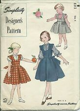 S 8313 sewing pattern 50's designer JUMPER, BLOUSE Transfer sew RARE girl size 4