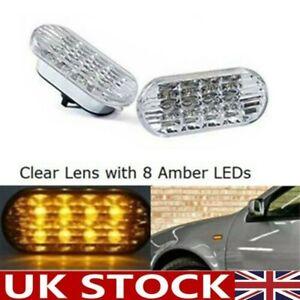 2x Side Indicator LED Repeater Light Clear For VW Bora Golf Transporter Focus