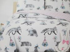 TUTU CUTE Kids 2pc White Pink Blue Fox Deer REVERSIBLE Comforter Set - Twin