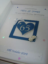 Personalised 65th Wedding Anniversary Card, Swarovski crystals, boxed