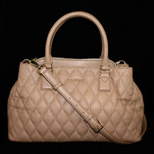VERA BRADLEY Emma Tan Quilted Leather Convertible Satchel Gold Hdwr $258