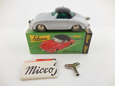 Schuco Micro Racer 1047 Porsche 356 Silver Black Roof Wind Up Car New in Box