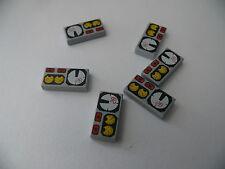 Lego 6 lisses gris bluish decore neuf / 6 light bluish tiles with gauges new