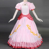 Adult Princess Peach Costume Women Super Mario Bros and Luigi Cosplay Pink Dress