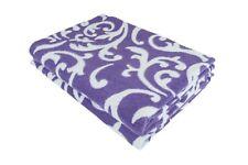 "100% Cotton 81x90"" Full Soft Warm Reversible Jacquard Throw Blanket, Purple"