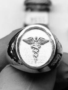 Sterling Silver 925 Caduceus Medical Symbol Ring
