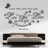 "1PC Fashion ""Love The Life You Live"" Vine Art Wall Sticker Vinyl Decals Decor"