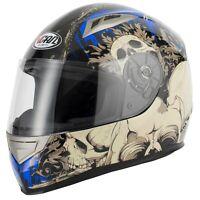 VCAN V158 MONSTER SKULL MOTORCYCLE MOTORBIKE FULL FACE CRASH HELMET DEMON BLUE