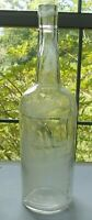 Vintage Collectible Empty 12 inch Clear Cork Top Whiskey Liquor spirits Bottle