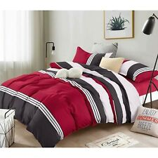 5-Piece Microfiber Comforter Set Bed in a Bag,lightweight,Stripes Wine red,Twin